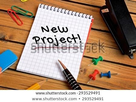 новых проект текста блокнот красочный карандашей Сток-фото © fuzzbones0