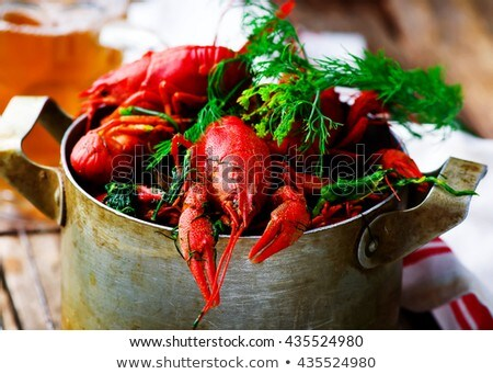 Bowl Of Boiled Crayfish On The Wooden Table Stok fotoğraf © zoryanchik