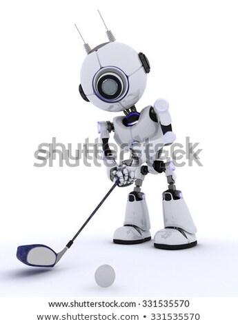 Robot met club golfen Stockfoto © Kjpargeter