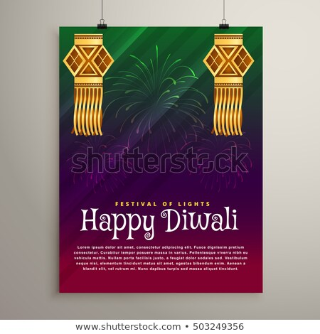 beatiful diwali festival background with hanging lamps Stock photo © SArts