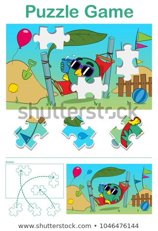 missing piece puzzle game with cute bird in hammok stock photo © adrian_n