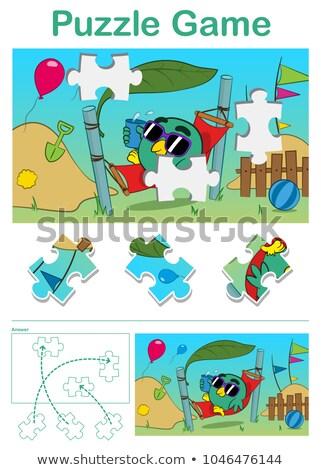 Hiányzó darab puzzle játék aranyos madár Stock fotó © adrian_n