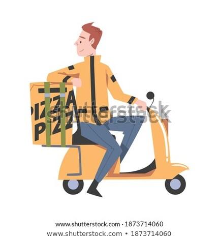 házhozszállítás · fiú · doboz · üzlet · papír · férfi - stock fotó © decorwithme