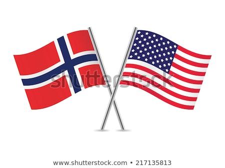 Stockfoto: Twee · vlaggen · Verenigde · Staten · Noorwegen · geïsoleerd