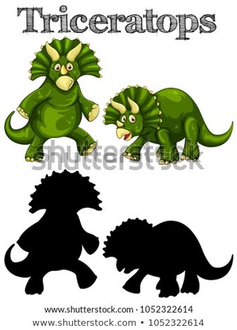 Triceratops in two actions with silhouette Stock photo © colematt