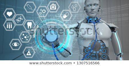 Robot Stethoscope Hexagons HUD Stock photo © limbi007