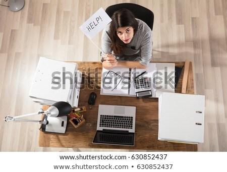 üzletasszony tart fehér segítség zászló iroda Stock fotó © AndreyPopov