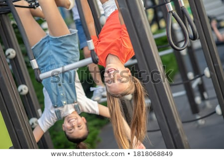 cheerful school age child play on playground school Stock photo © Lopolo