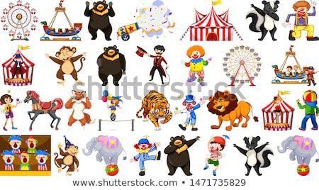 Circus set with animals rides and clowns on isolated background Stock photo © bluering
