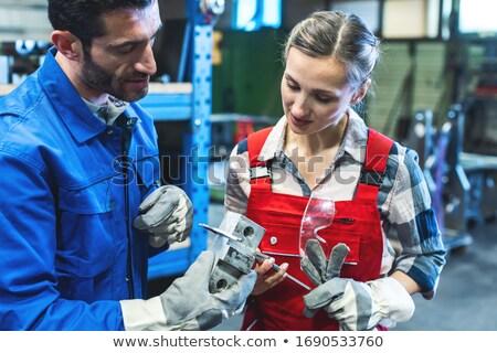 Mujer hombre trabajador metal satisfecho industria Foto stock © Kzenon