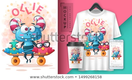 Set monster friends - mockup for your idea Stock photo © rwgusev