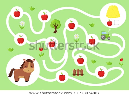 animal food labyrinth learning game vector template stock photo © decorwithme