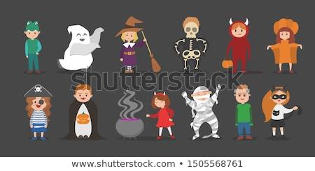 vektör · cadılar · bayramı · kabak · komik · ayarlamak · karikatür · toplama - stok fotoğraf © leedsn