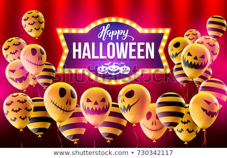 happy halloween party neon sign in frame stock photo © voysla