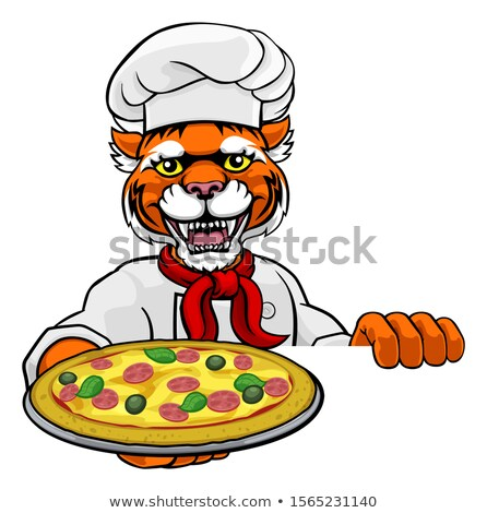 Tiger Pizza Chef Cartoon Restaurant Mascot Sign Stock photo © Krisdog
