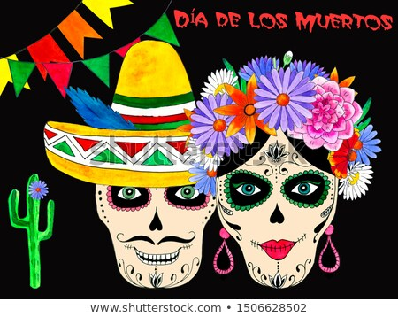 Day of dead banner cute watercolor skull cartoon Stock photo © cienpies