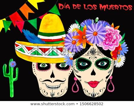 day of dead banner cute watercolor skull cartoon stock photo © cienpies