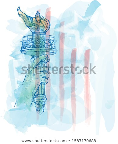 watercolor torch of statue of liberty on USA flag stock photo © doomko