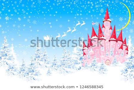 ピンク 城 雪 森林 1泊 クリスマス ストックフォト © liolle