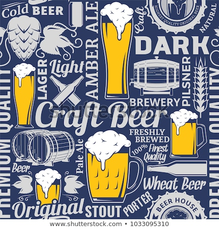 Craft beer silhouette seamless pattern Stock photo © barsrsind