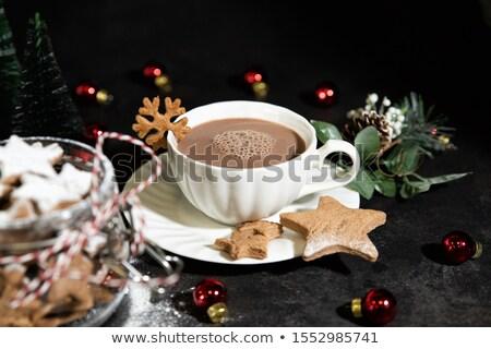 Csésze forró csokoládé karácsony alakú mézeskalács sütik Stock fotó © dash