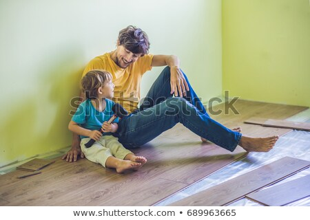 père · en · fils · nouvelle · bois - photo stock © galitskaya