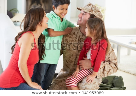 Son Hugging Military Father Home On Leave Stock photo © HighwayStarz