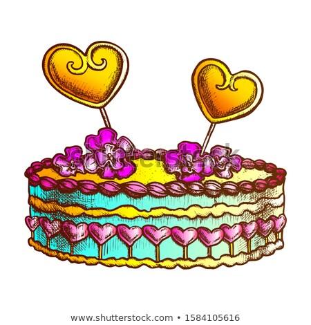 Torta díszített szívek krémes virág tinta Stock fotó © pikepicture