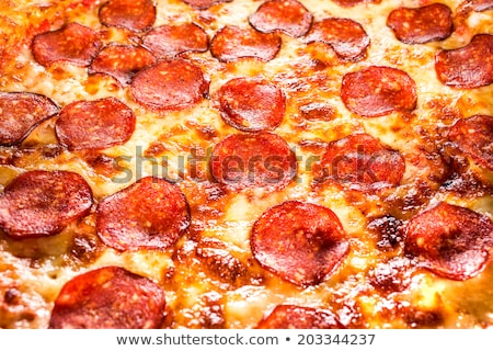 Iştah açıcı pepperoni pizza doldurma çerçeve Stok fotoğraf © galitskaya