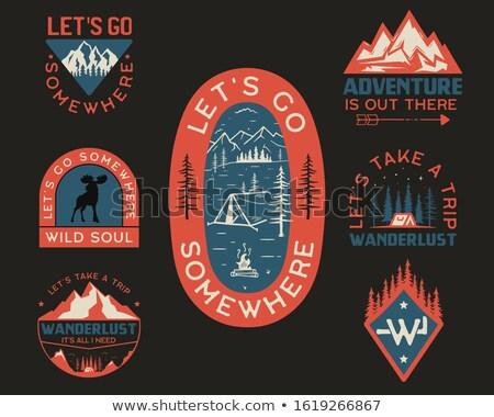 Vintage wanderlust logo, adventure badge. Hand drawn camp label design. Travel expedition scouting.  Stock photo © JeksonGraphics