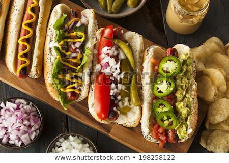 Hot dog vöröshagyma savanyúság friss saláta étel Stock fotó © Peteer