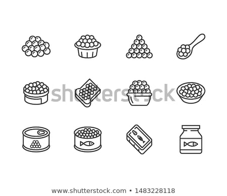 Caviar On Spoon Icon Vector Outline Illustration Stock photo © pikepicture