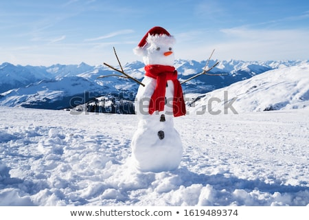 Incomplete Snowman With Hat And Scarf On Snowy Field Stock photo © AndreyPopov