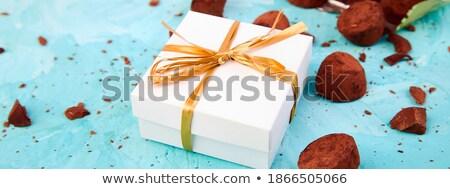 Banner chocolade snoep vallen uit gouden Stockfoto © Illia