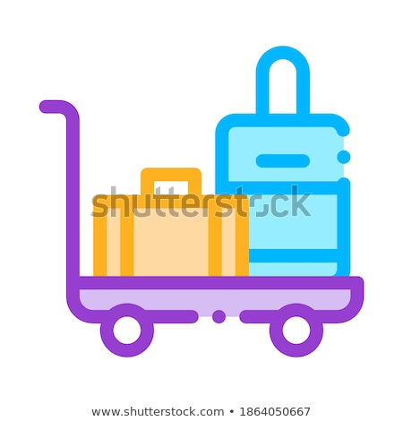 Baggage Cart With Valise Vector Thin Line Icon Stock photo © pikepicture