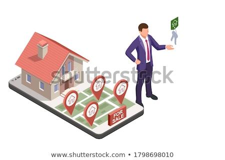 Ligne vente louer hypothèque maison isométrique Photo stock © -TAlex-