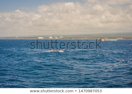 Traditional east Asian sailing boat in an open sea Stock photo © galitskaya