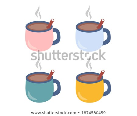 Cute Blue and Yellow Cups Isolated on White Vector Stock photo © robuart