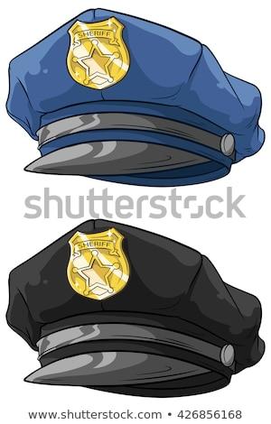 Cartoon police hat and gold badge vector Stock photo © nezezon
