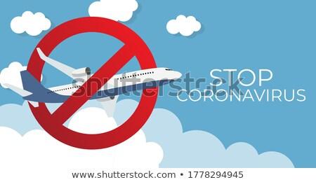 Wektora koronawirus kryzys ikona lotu samolot Zdjęcia stock © Elisanth