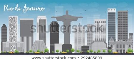 Rio de Janeiro linha do horizonte cinza edifícios blue sky verde Foto stock © ShustrikS