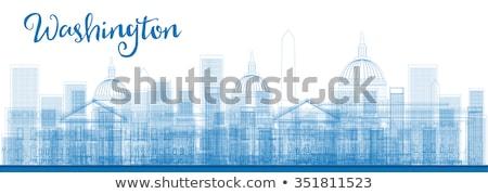 Skicc Washington DC város felhőkarcolók kék szín Stock fotó © ShustrikS