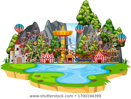 Scene with circus rides on the island Stock photo © bluering