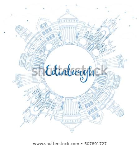 Outline Edinburgh Skyline with Blue Buildings and Copy Space. Stock photo © ShustrikS
