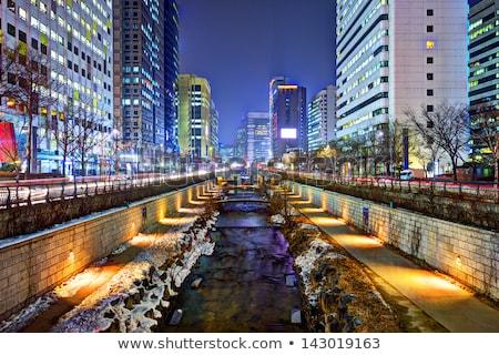 Cheonggyecheon stream in Seoul, Korea. Cheonggyecheon stream is the result of a massive urban renewa Stock photo © galitskaya