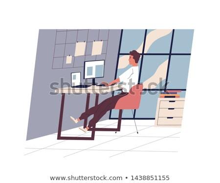 Glimlachend man werken kantoor dagelijks activiteit Stockfoto © yupiramos