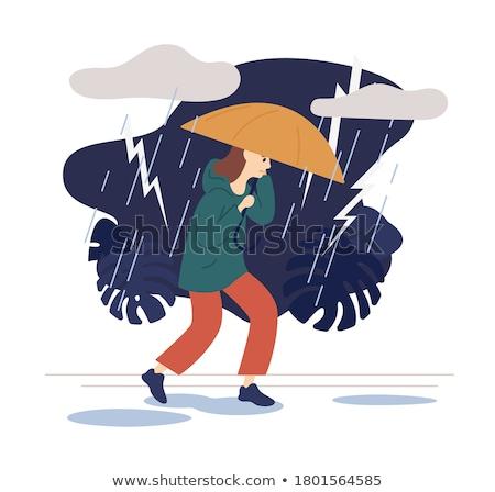 женщину парка дождливый день осень женщины Сток-фото © robuart
