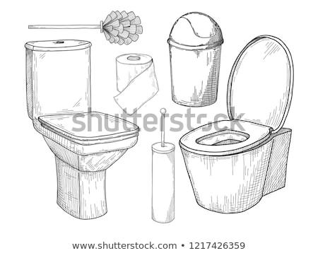 Schets toilet kom ander toiletartikelen geïsoleerd Stockfoto © Arkadivna