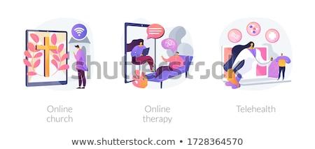 Online church abstract concept vector illustration. Stock photo © RAStudio
