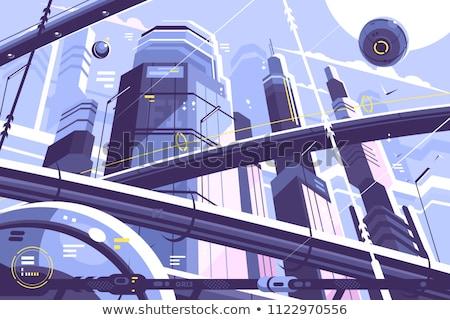 Cidade metrópole futuro arranha-céus céu edifício Foto stock © jossdiim